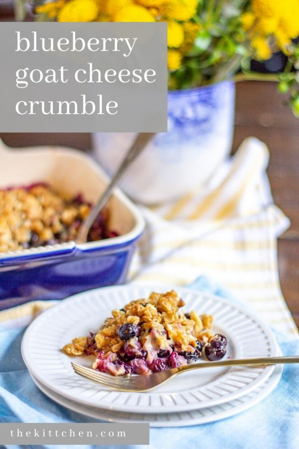 An easy recipe for a blueberry crumble with a blueberry goat cheese filling topped with a crispy crumbly oat topping.