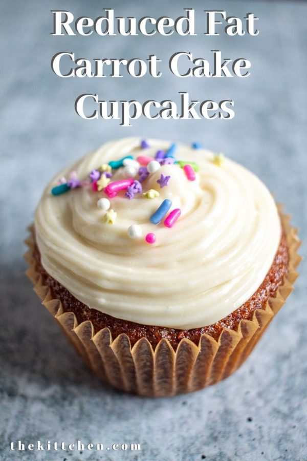 An easy recipe for reduced fat carrot cake cupcakes with cream cheese frosting.