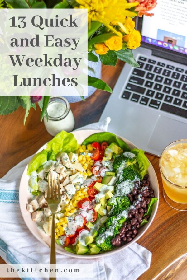 Working from home means eating lunch at home. I am sharing a collection of quick and easy weekday lunches that you can make and enjoy without taking too much time out of your workday.
