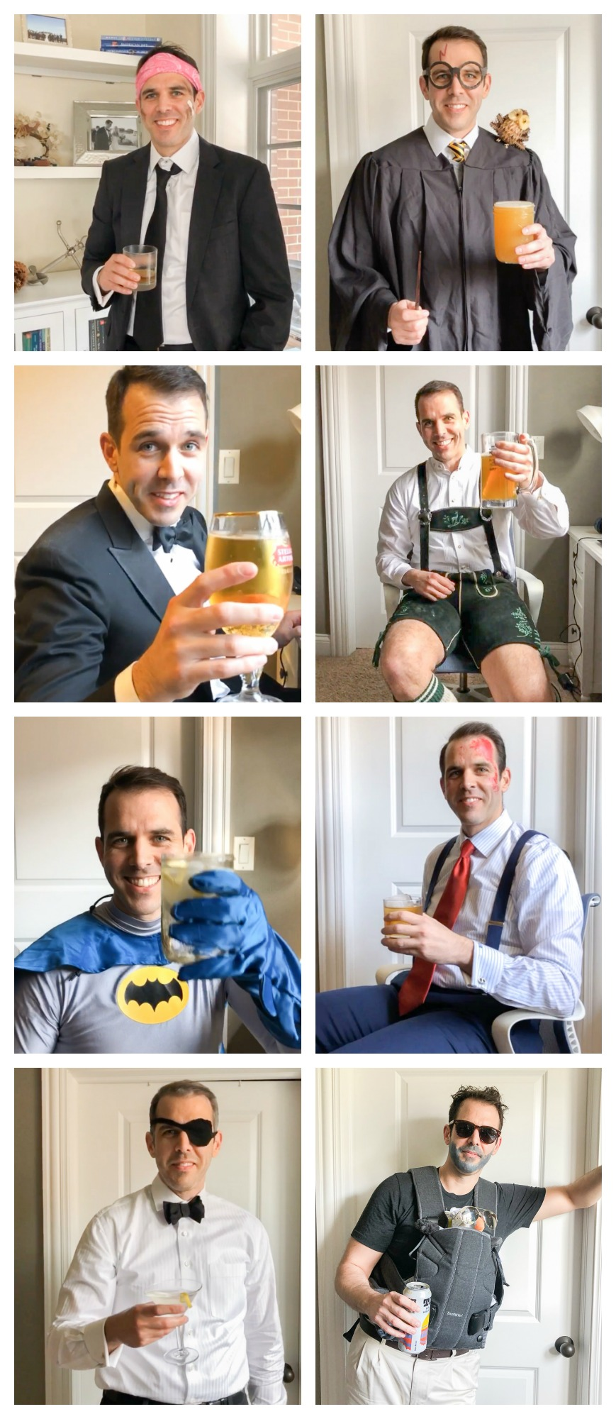 Fun costume ideas for men: Mayhem, Harry Potter, Lederhosen, Batman, Patrick Bateman, Bond Villain, and Alan from The Hangover.