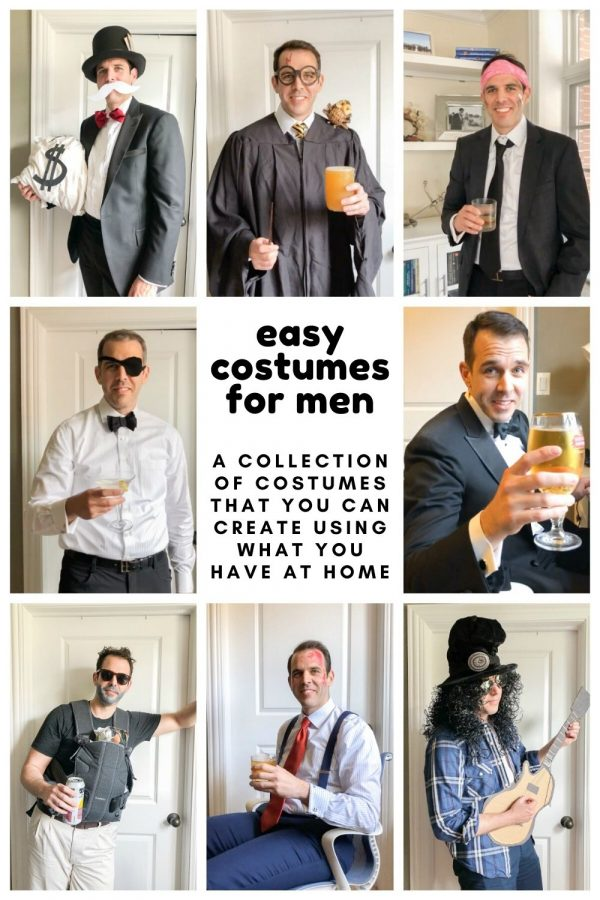 A collection of easy costume ideas for men! Many of these men's Halloween costumes can be assembled by using things you probably have at home already. #halloween