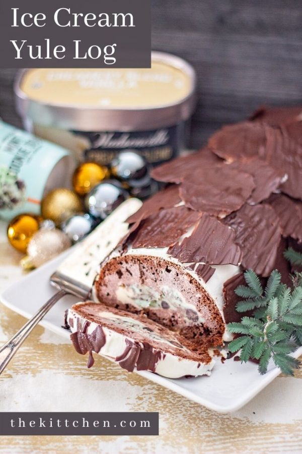 #ad Hudsonville Creamery Blend Vanilla and Extra Indulgent Mint Cookie Dough ice cream get swirled inside chocolate cake to create this delicious Ice Cream Yule Log!
