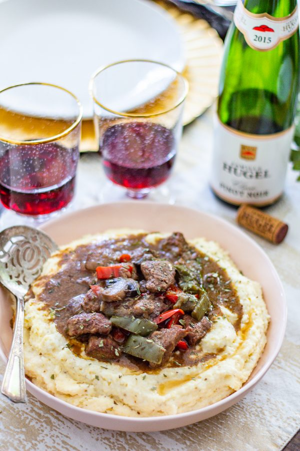 Sirloin Tips and Cheesy Grits paired with Hugel Pinot Noir Classic - this easy to drink red wine is an ideal match for red meat.