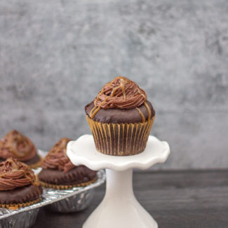 Whiskey Caramel and Chocolate Buttercream Cupcakes