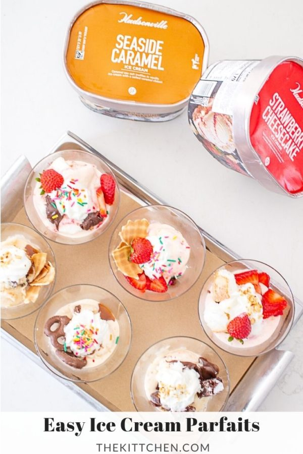 Learn how to make delicious ice cream parfaits using @hudsonvilleic's Strawberry Cheesecake and Seaside Caramel flavors! #ad