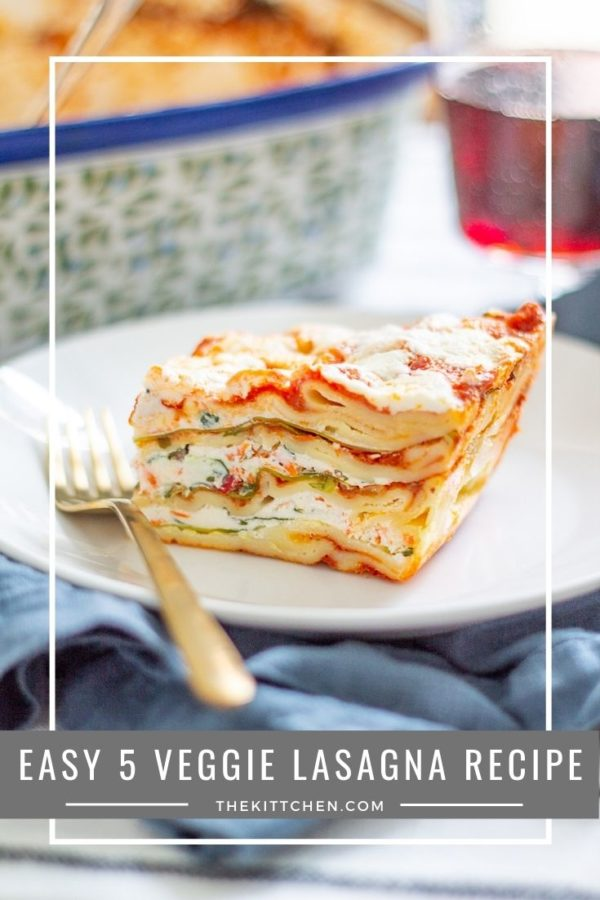 Easy Vegetarian Lasagna | This lasagna is made with zucchini, bell pepper, spinach, carrot, and tomato sauce. I always make 2 lasagnas at a time, one for now and one for the freezer.